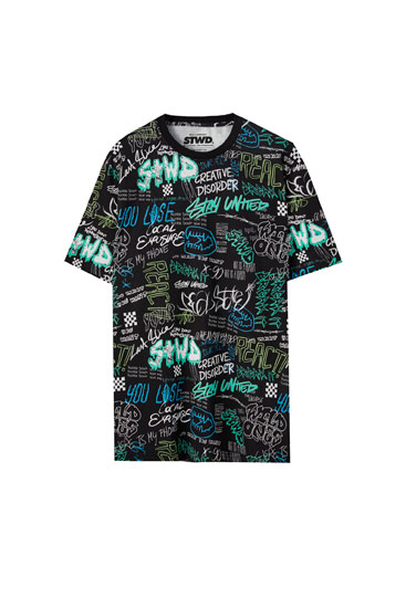 Short sleeve graffiti print T-shirt