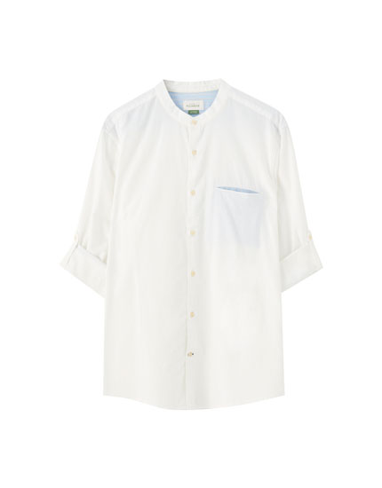 White shirt with a stand-up collar