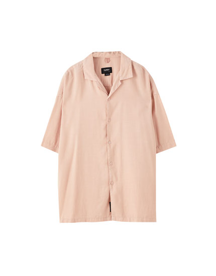 Linen shirt with contrast front logo