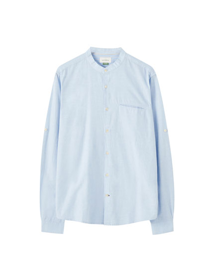 Light blue shirt with a stand-up collar