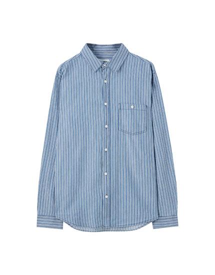 Gestreiftes Basic-Hemd mit langen Ärmeln