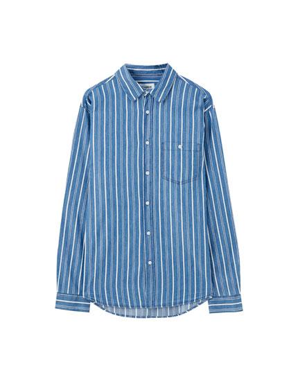 Базовая рубашка в полоску, с длинными рукавами