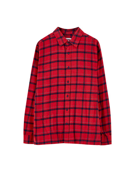 Red check print cotton shirt