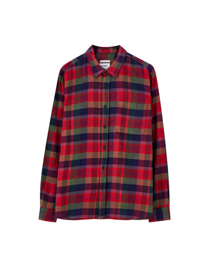 Multicoloured check print shirt