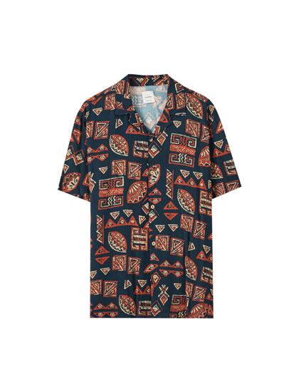 Basic-Hemd aus Viskose mit Print