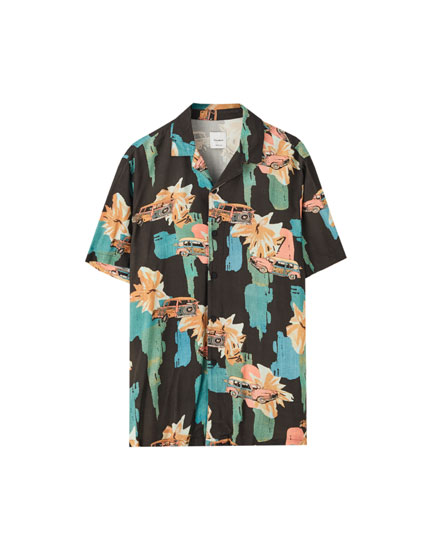 Camisa viscosa estampado tropical