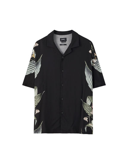 Viscose shirt with leaf print