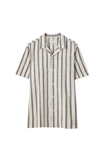 Vertical striped linen shirt