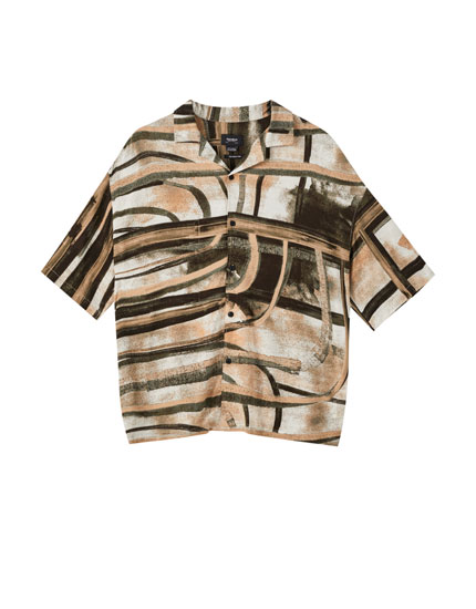 Wood-effect rose print shirt