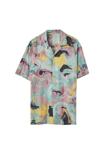 Tirkīzzils krekls ar akvareļu apdruku