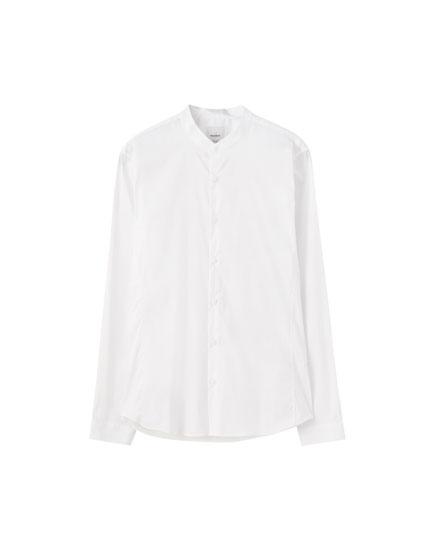 Camisa popelín cuello mao