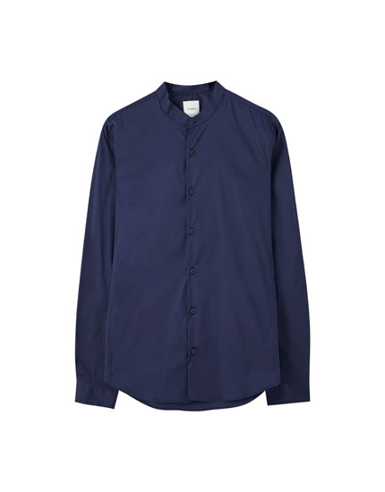 Poplin shirt with stand-up collar