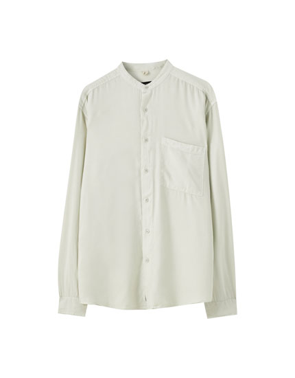 Viscose shirt with stand-up collar
