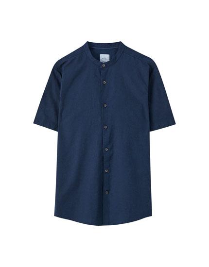 Linen blend short sleeve shirt