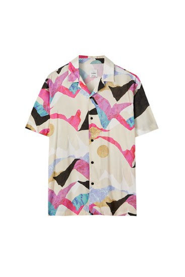 Multicoloured marble print shirt
