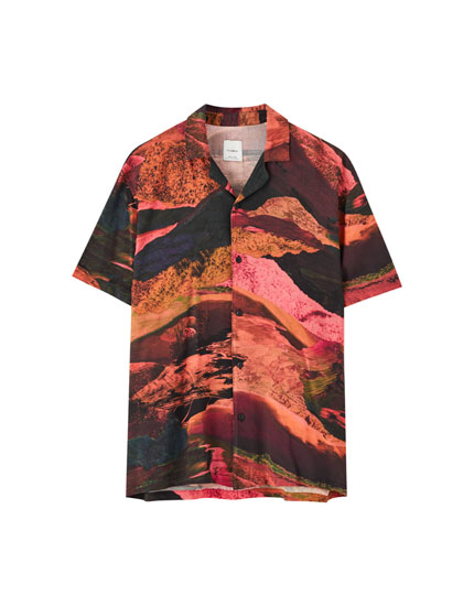 Shirt with multicoloured landscape print