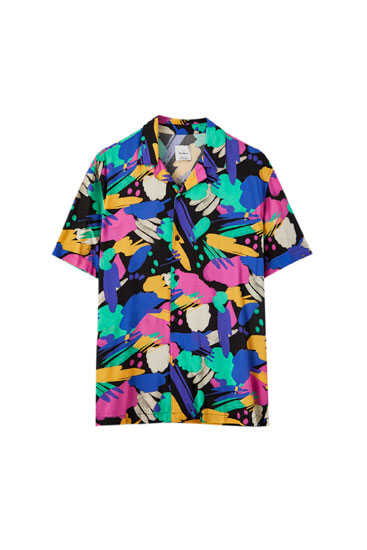 Black shirt with multicoloured paint print