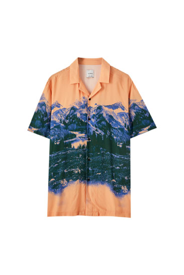 Orange mountain print shirt