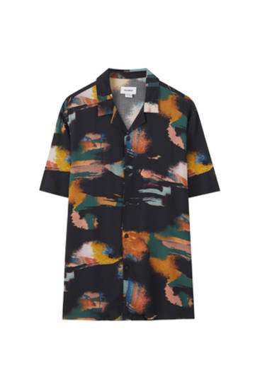 Black shirt with multicoloured print