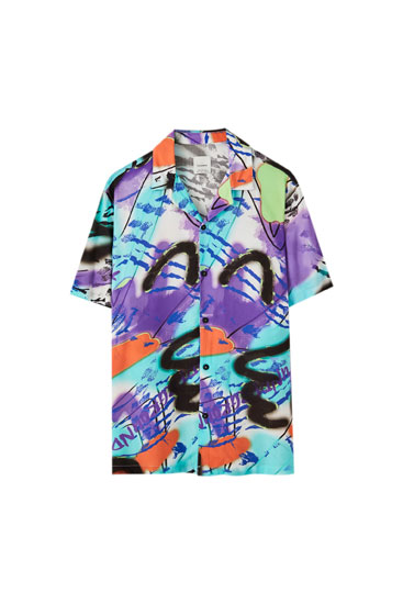 Multicoloured graffiti print shirt
