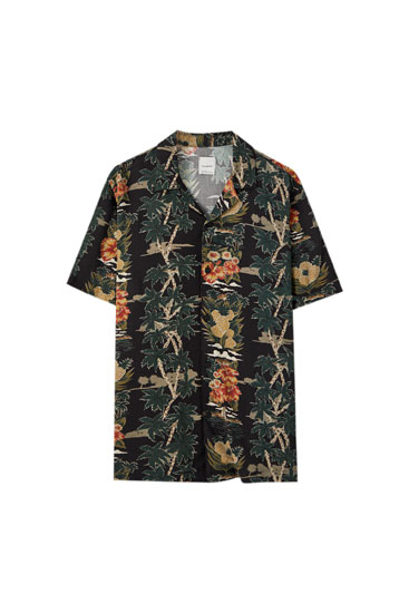 Black palm tree print shirt