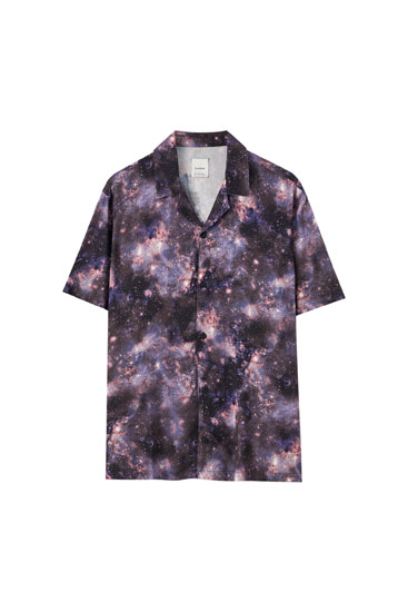 Black shirt with universe print
