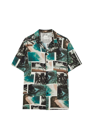 Black shirt with photographic print
