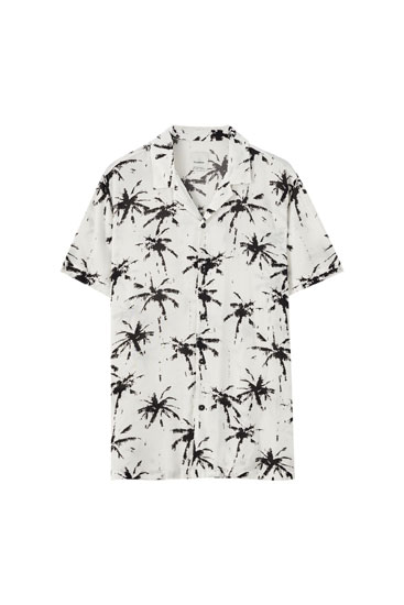 White palm tree print shirt