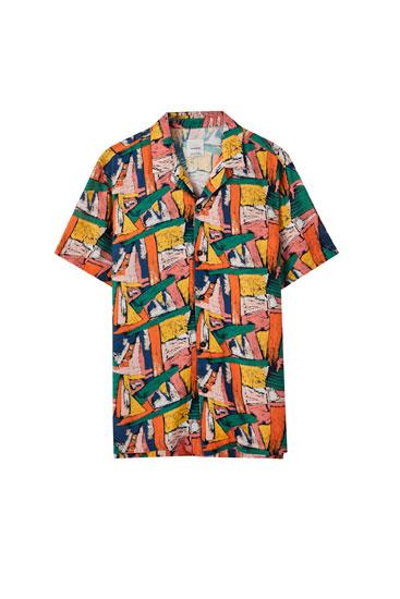 Orange shirt with geometric print