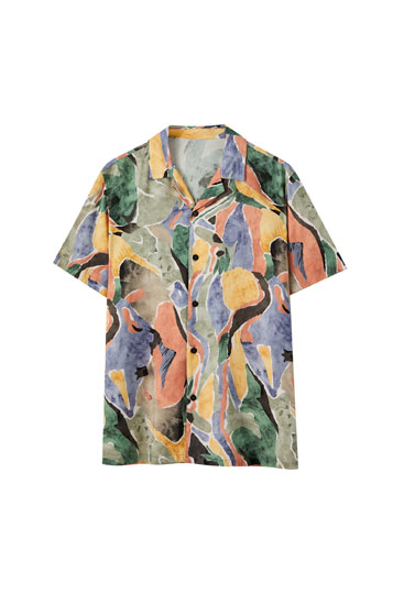 Multicoloured watercolour print shirt