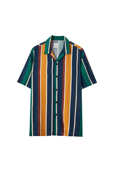 Multicoloured stripe print shirt