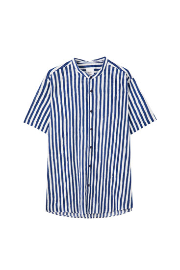 Cotton shirt with striped print
