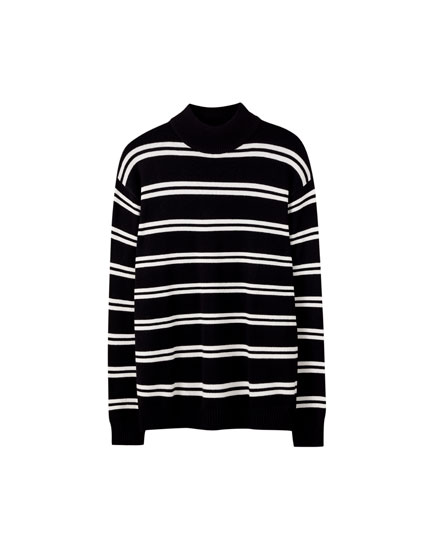 Mock neck sweater with a stripe print