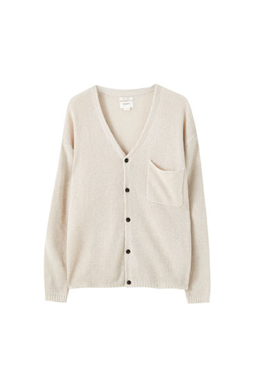 Linen jacket with patch pockets
