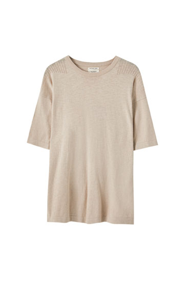 Short sleeve linen sweater