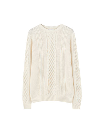 Basic coloured cable-knit sweater