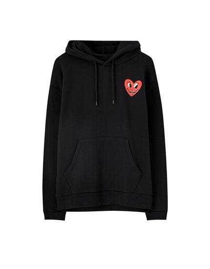 Keith Haring heart hoodie