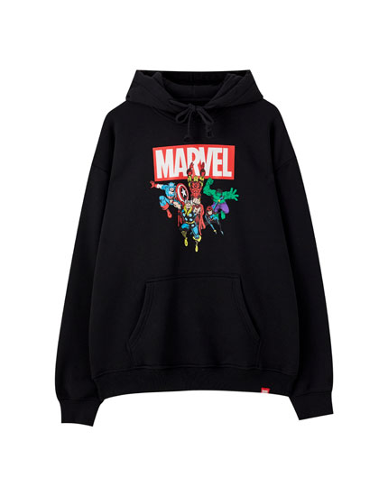 Black hoodie with Marvel characters