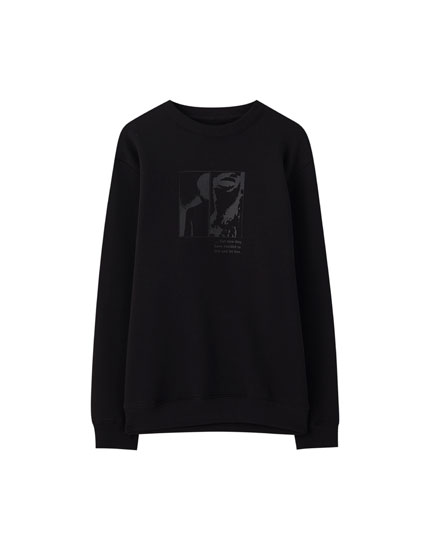 Basic black sweatshirt with illustration