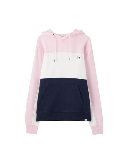 Colour block sweatshirt with contrasting logo
