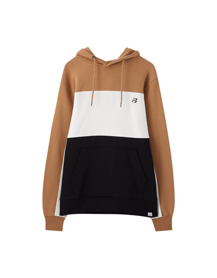 Colour block sweatshirt with contrasting logo