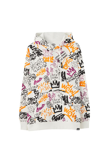 All-over graffiti print hoodie