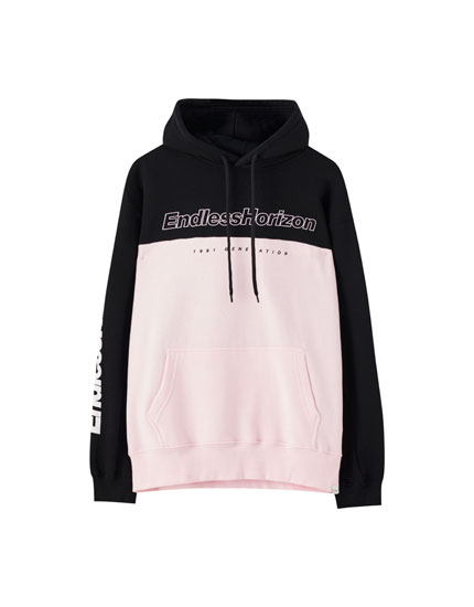 Sweatshirt with pink colour block design and slogan