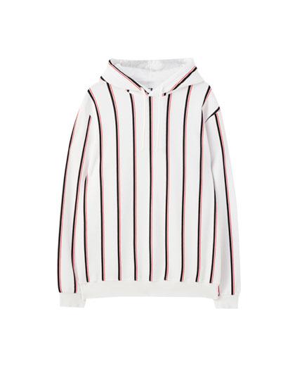 Stripe print hoodie