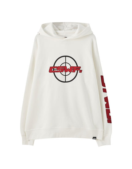 White hoodie with contrasting embroidery