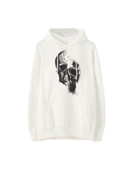 Sweat blanc illustration tête de mort
