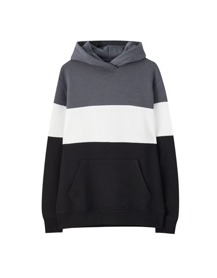 Three-tone colour block hoodie