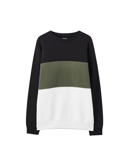 Three-tone colour block sweatshirt