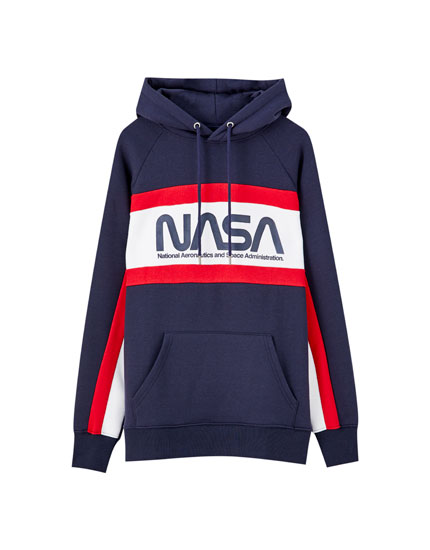 Blue NASA colour block hoodie
