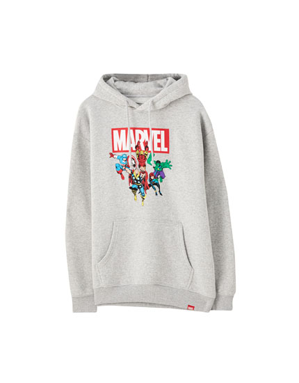 Grey Marvel hoodie with characters